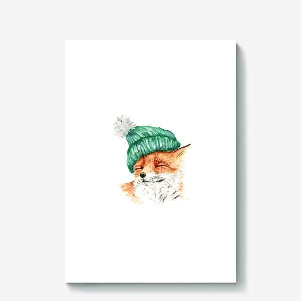 Холст «Лиса в вязаной шапке уютный принт»
