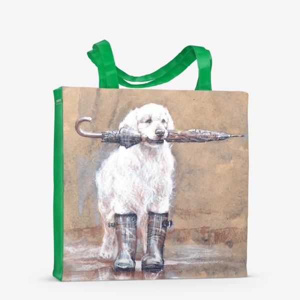 Сумка-шоппер «Товарищ лабрадор, белый, собака, иллюстрация»