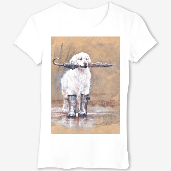 Футболка «Товарищ лабрадор, белый, собака, иллюстрация»