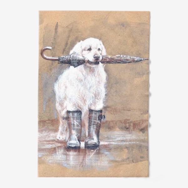 Полотенце «Товарищ лабрадор, белый, собака, иллюстрация»