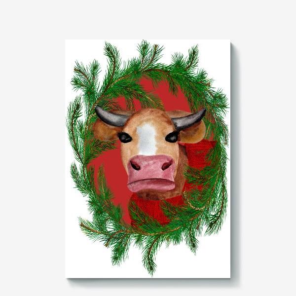 Холст «Новогодняя бурёнка в красном свитере с еловым венком»