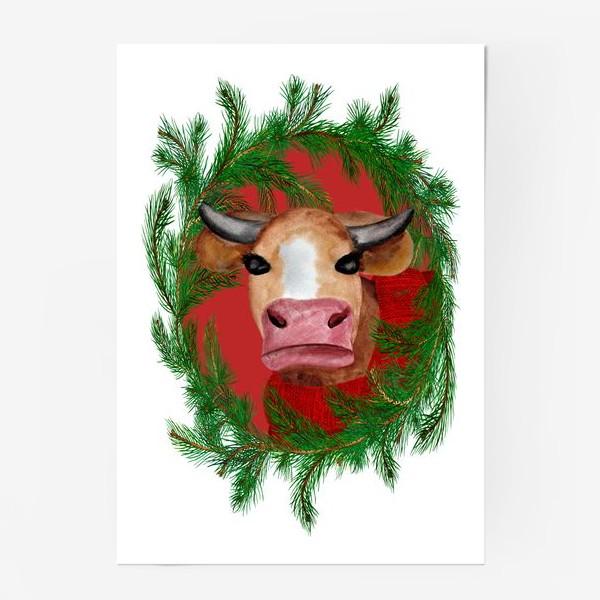 Постер «Новогодняя бурёнка в красном свитере с еловым венком»