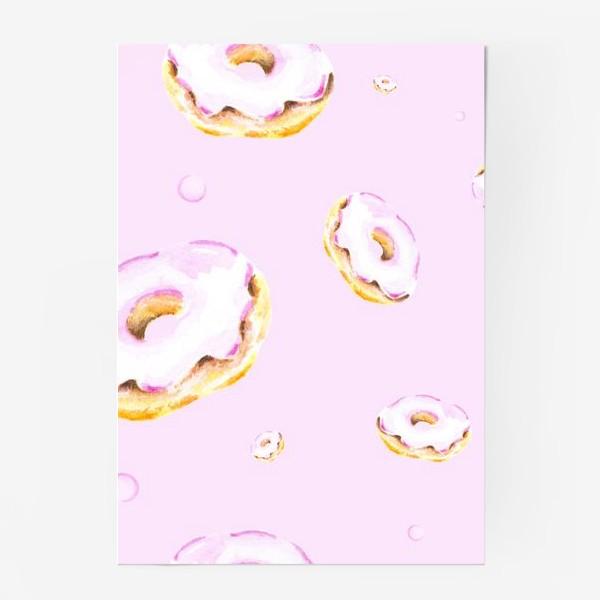 Постер «Пончики на розовом (бесшовный паттерн)»