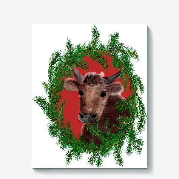 Холст «Новогодний бык с еловым венком»