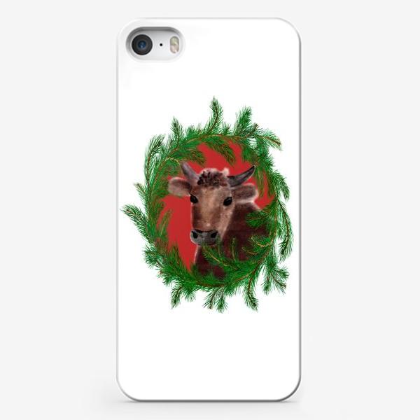 Чехол iPhone «Новогодний бык с еловым венком»