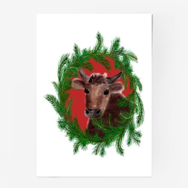 Постер «Новогодний бык с еловым венком»