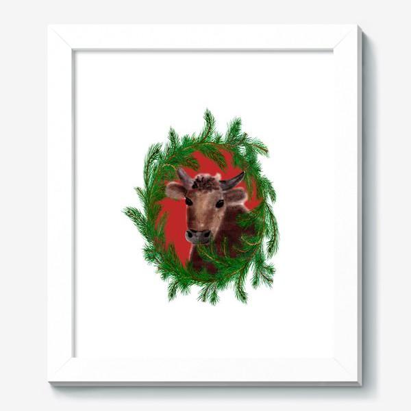 Картина «Новогодний бык с еловым венком»