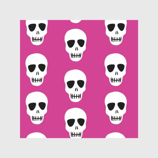 Скатерть «Белые черепки на розовом фоне. Гламурная готка»