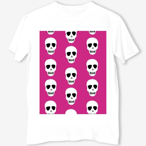 Футболка «Белые черепки на розовом фоне. Гламурная готка»