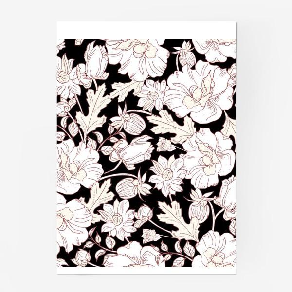 Постер «цветы на чёрном»