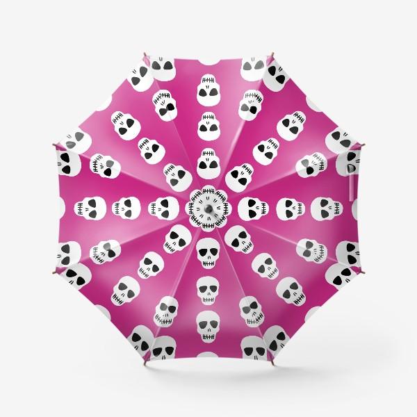 Зонт «Белые черепки на розовом фоне. Гламурная готка»