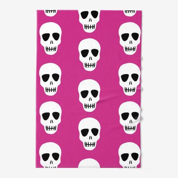 Полотенце «Белые черепки на розовом фоне. Гламурная готка»