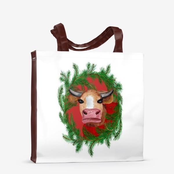 Сумка-шоппер «Новогодняя бурёнка в красном свитере с еловым венком»