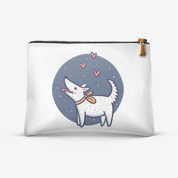 Косметичка «Белая собака с сердечками»
