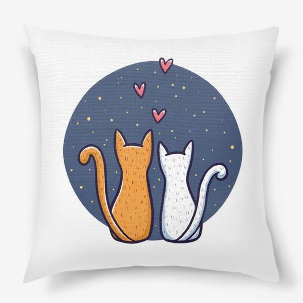 Подушка «Влюбленные коты с сердечками на фоне космоса (на белом фоне)»