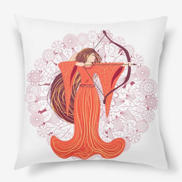 Подушка «Знак зодиака Стрелец и цветочная мандала»