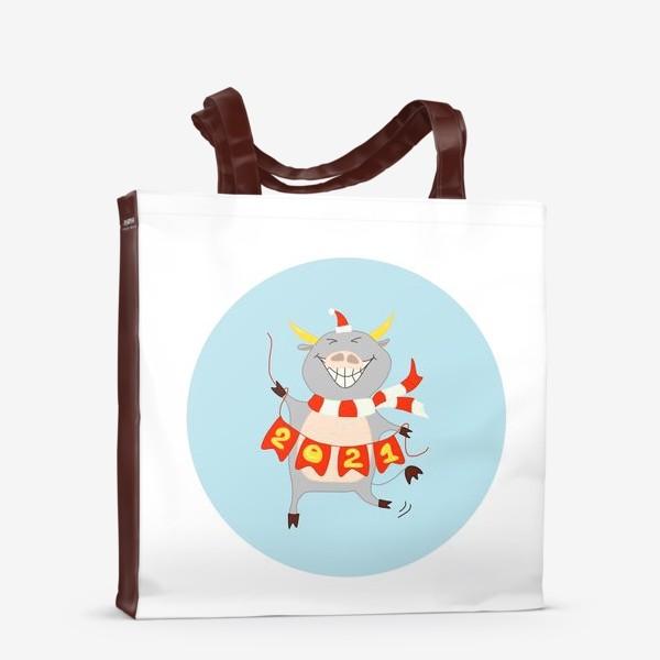 Сумка-шоппер «Бык с цифрами 2021 Рождественский бык с гирляндой Смешной новогодний персонаж»
