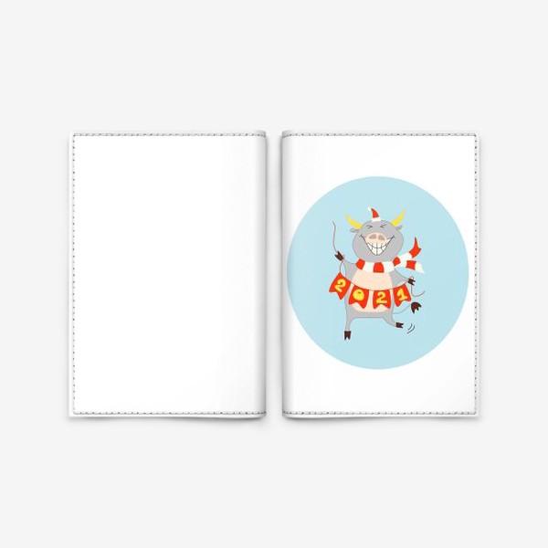Обложка для паспорта «Бык с цифрами 2021 Рождественский бык с гирляндой Смешной новогодний персонаж»