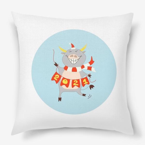 Подушка «Бык с цифрами 2021 Рождественский бык с гирляндой Смешной новогодний персонаж»