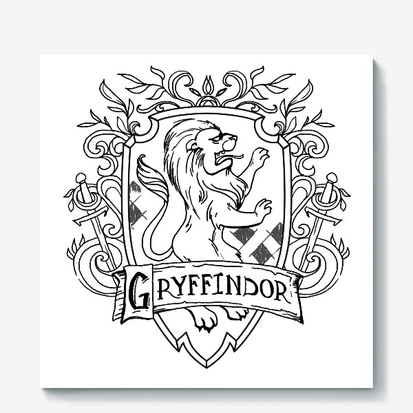 Холст «Герб факультета Гриффиндор. Гарри Поттер. Gryffindor Crest. Harry Potter»