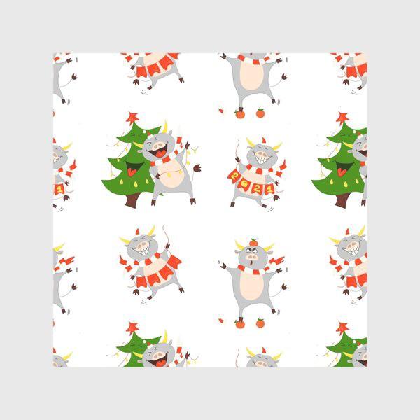 Скатерть «Новогодние быки 2021 Узор на новый год быка Рождество мандарины елка»