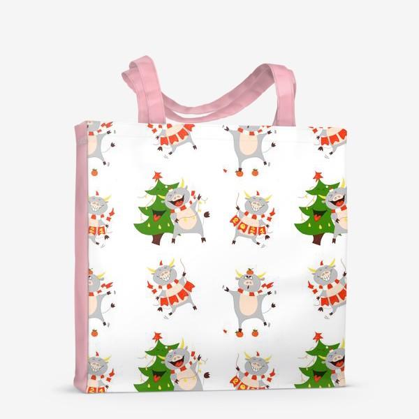 Сумка-шоппер «Новогодние быки 2021 Узор на новый год быка Рождество мандарины елка»
