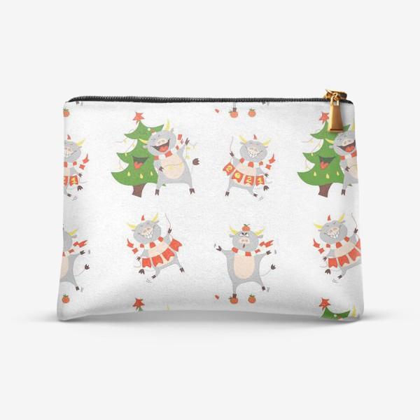 Косметичка «Новогодние быки 2021 Узор на новый год быка Рождество мандарины елка»