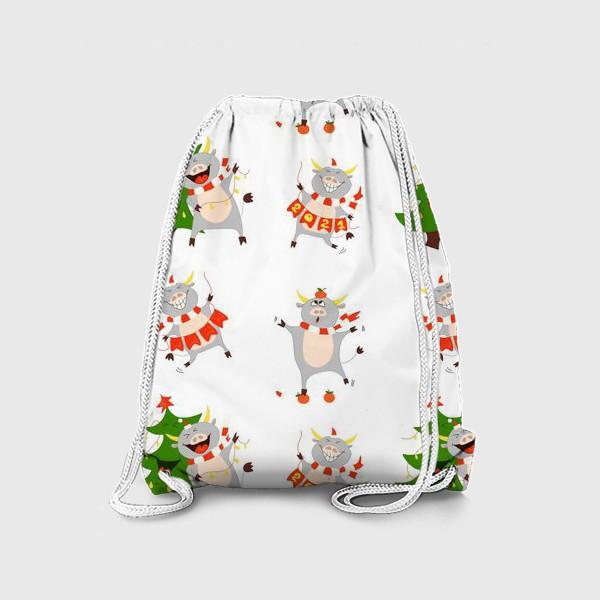 Рюкзак «Новогодние быки 2021 Узор на новый год быка Рождество мандарины елка»
