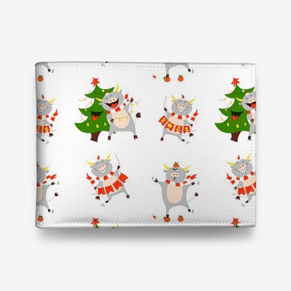 Кошелек «Новогодние быки 2021 Узор на новый год быка Рождество мандарины елка»
