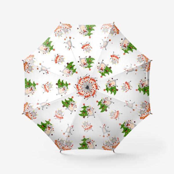Зонт «Новогодние быки 2021 Узор на новый год быка Рождество мандарины елка»