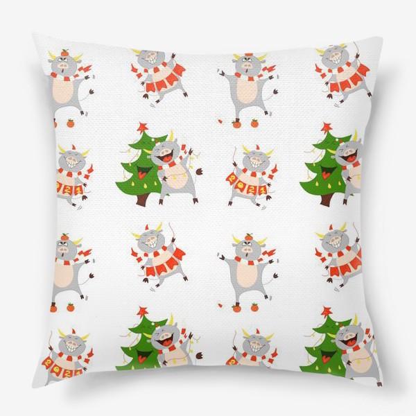 Подушка «Новогодние быки 2021 Узор на новый год быка Рождество мандарины елка»