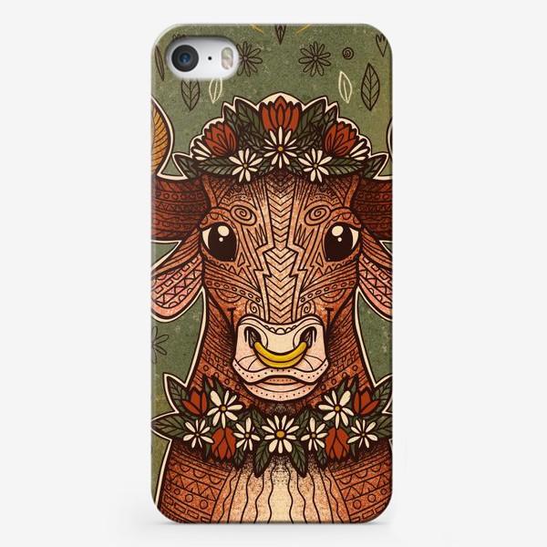 Чехол iPhone «Бык в цветах»