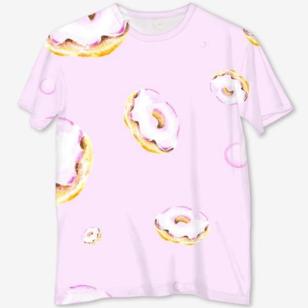 Футболка с полной запечаткой «Пончики на розовом (бесшовный паттерн)»