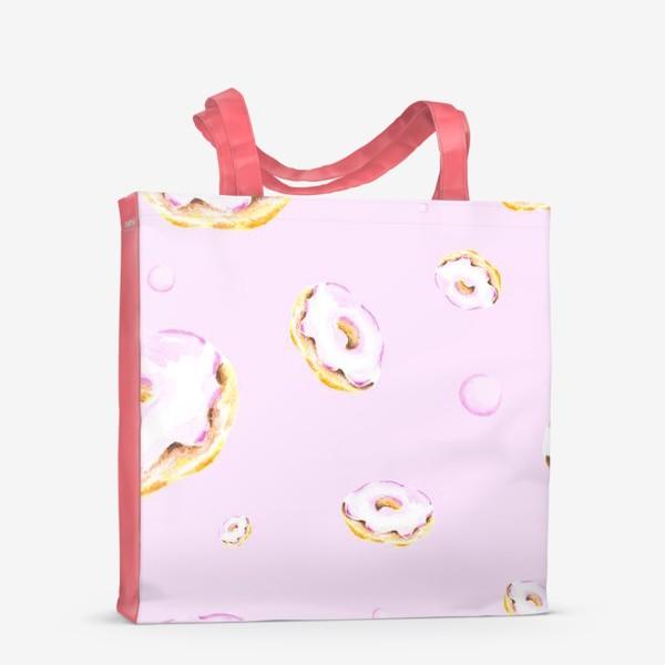 Сумка-шоппер «Пончики на розовом (бесшовный паттерн)»