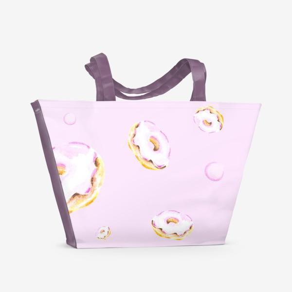Пляжная сумка «Пончики на розовом (бесшовный паттерн)»