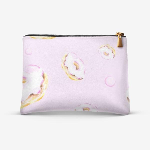 Косметичка «Пончики на розовом (бесшовный паттерн)»