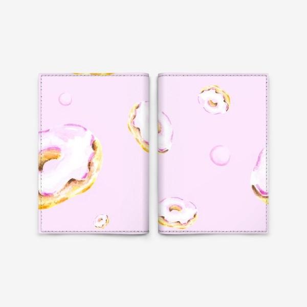 Обложка для паспорта «Пончики на розовом (бесшовный паттерн)»