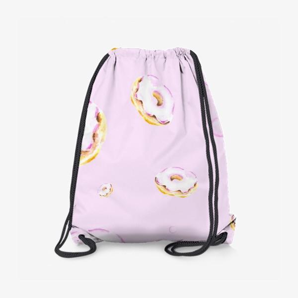 Рюкзак «Пончики на розовом (бесшовный паттерн)»