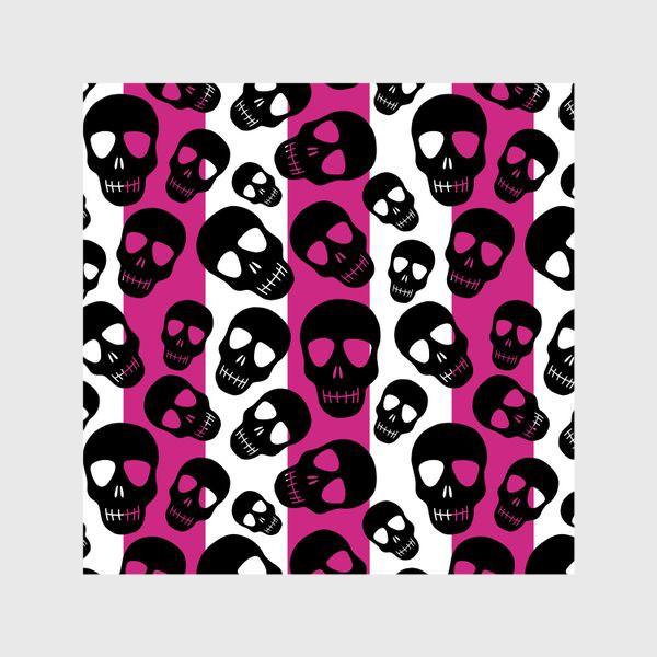 Шторы «Черные черепки на розовом-белом полосатом фоне. Гламурная готика»