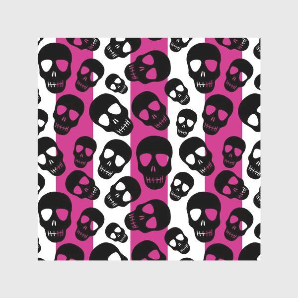 Скатерть «Черные черепки на розовом-белом полосатом фоне. Гламурная готика»