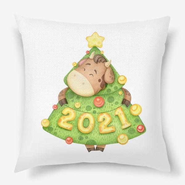 Подушка «Акварельный бык в костюме елки, милый новогодний принт»