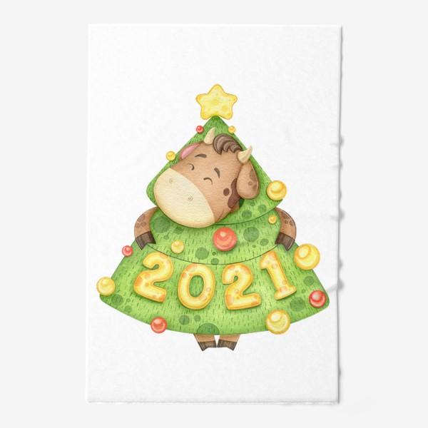 Полотенце «Акварельный бык в костюме елки, милый новогодний принт»
