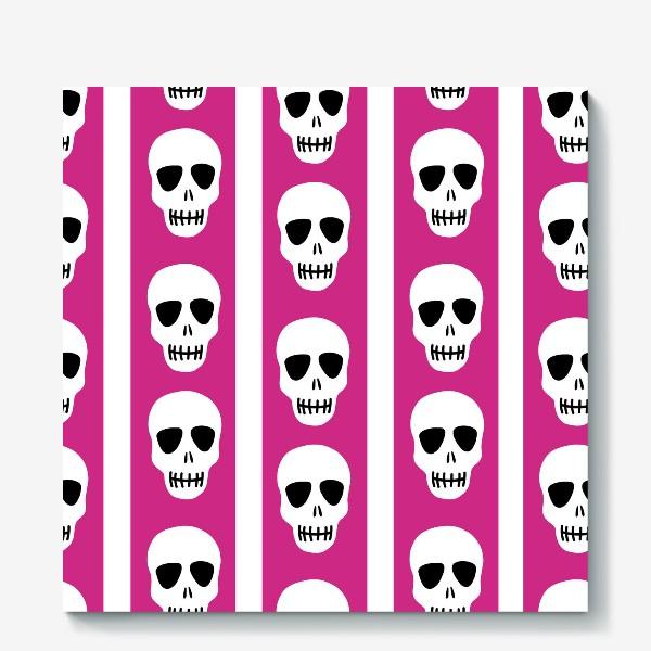 Холст «Белые черепки на розово-белом полосатом фоне. Гламурная готика»