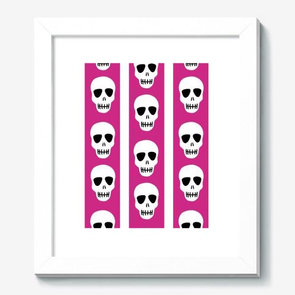 Картина «Белые черепки на розово-белом полосатом фоне. Гламурная готика»