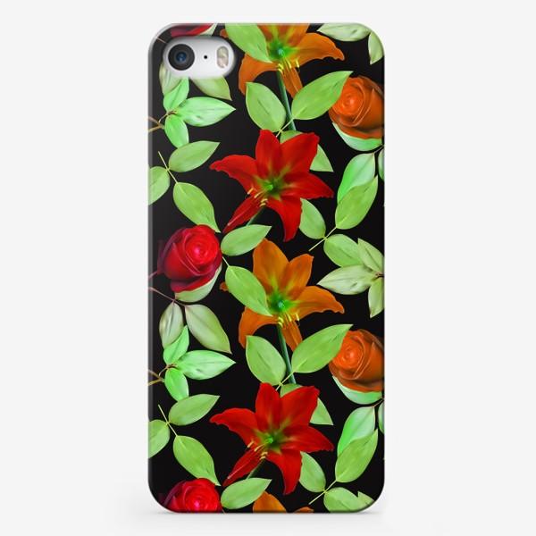Чехол iPhone «Бесшовный фон с розами»