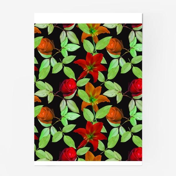 Постер «Бесшовный фон с розами»