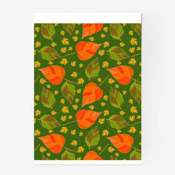 Постер «Бесшовный фон с осенними лесными листьями.»