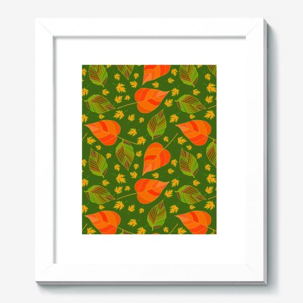 Картина «Бесшовный фон с осенними лесными листьями.»