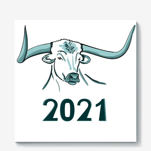 Холст «Бык символ нового 2021 года»