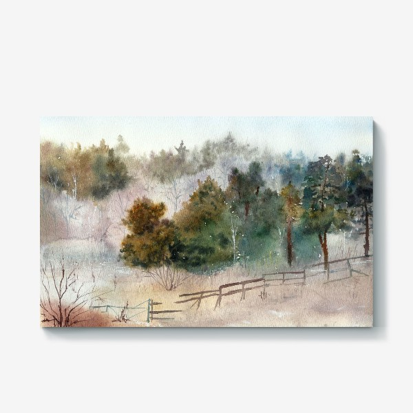 Холст «Акварельный пейзаж, сосновый лес »